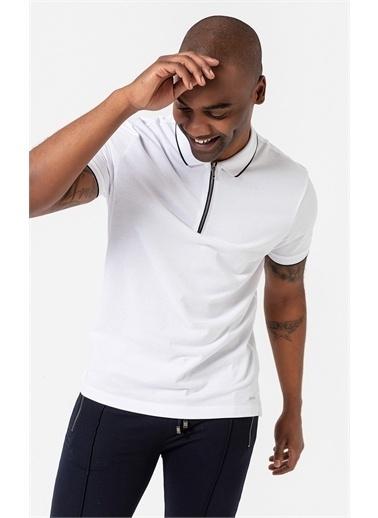 Boris Becker Fermuarlı Polo Yaka T-shirt Beyaz